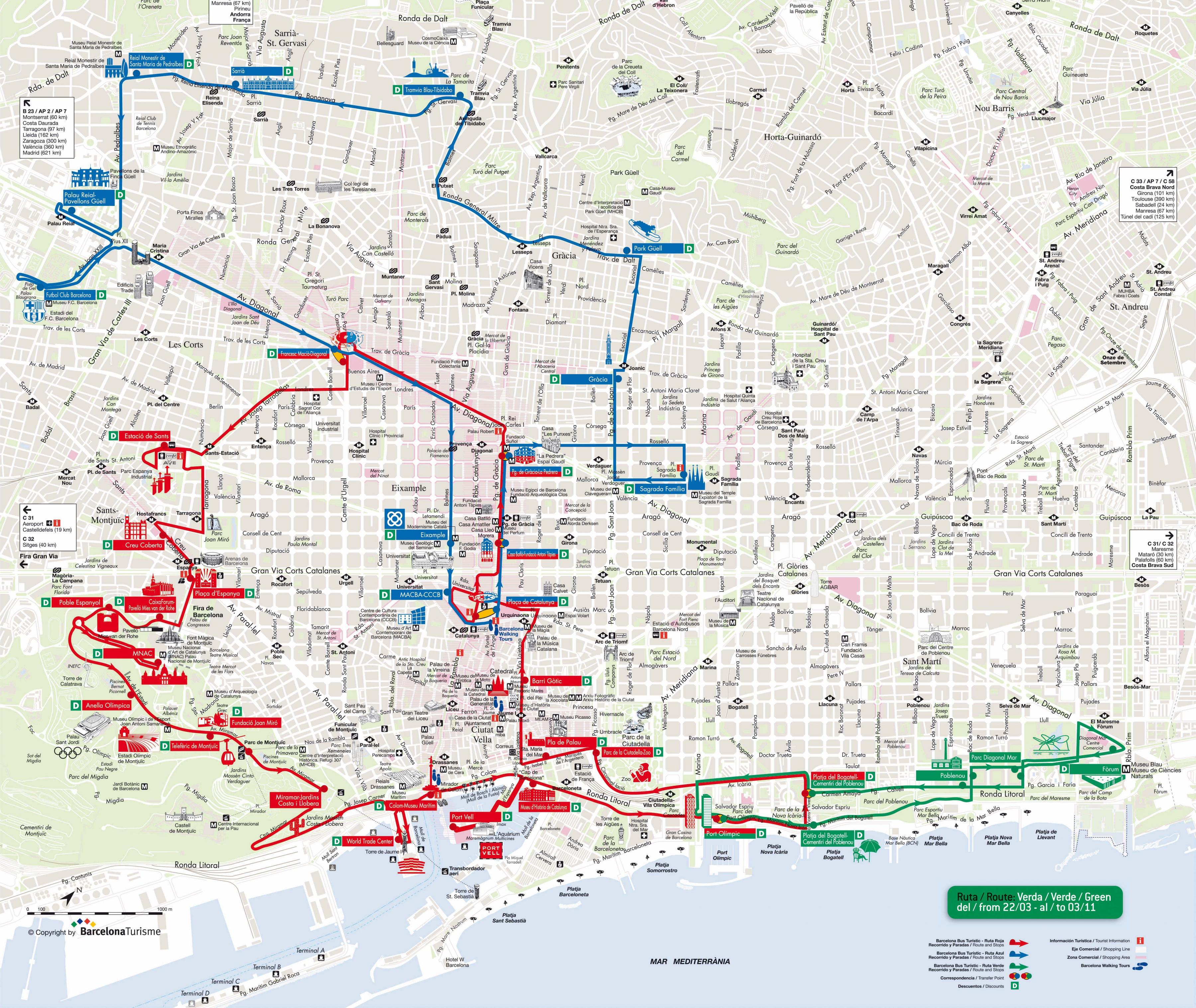 Barcelona hop on hop off bus route map - Barcelona hop on ...