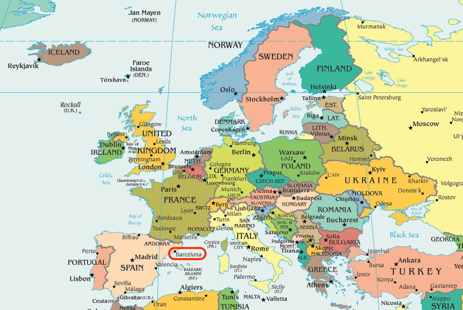 Spain Map Of Europe.Barcelona Map Europe Map Of Spain Showing Barcelona Catalonia Spain