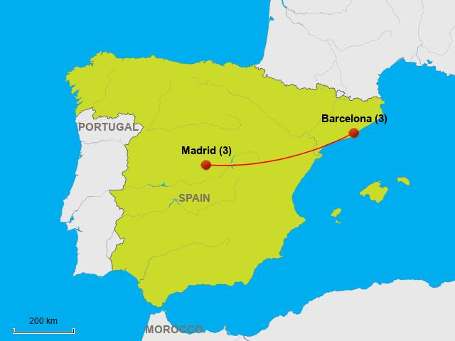 Madrid Map Of Spain.Madrid And Barcelona Map Barcelona To Madrid Map Catalonia Spain