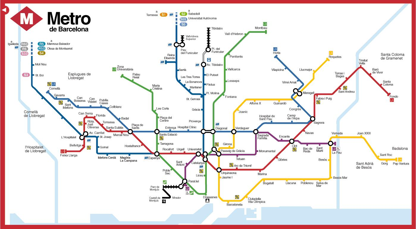 Subway Map Of Barcelona Spain.Metromap Barcelona Bcn Subway Map Catalonia Spain