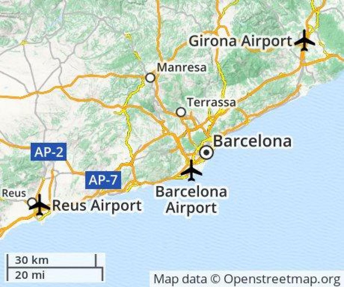 barcelona airport location map