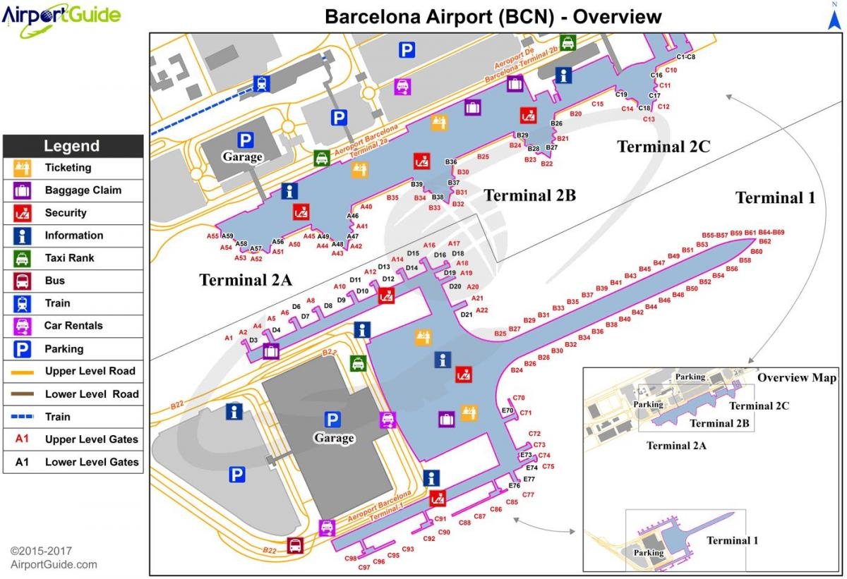 barcelona airport map terminal 1 and 2