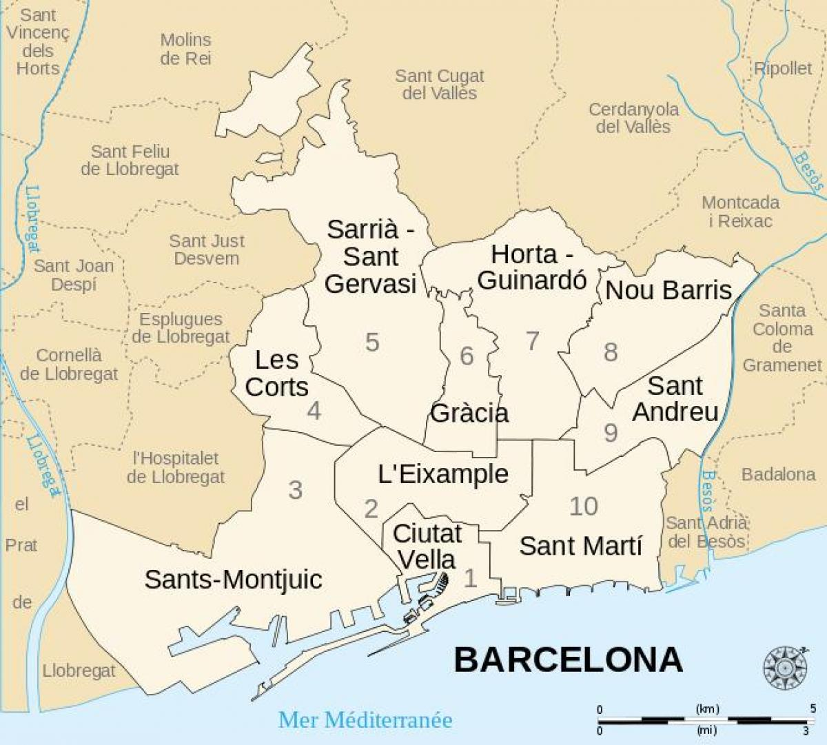 Map Of Spain With Barcelona.Barcelona Districts Map Map Of Barcelona Districts Spain