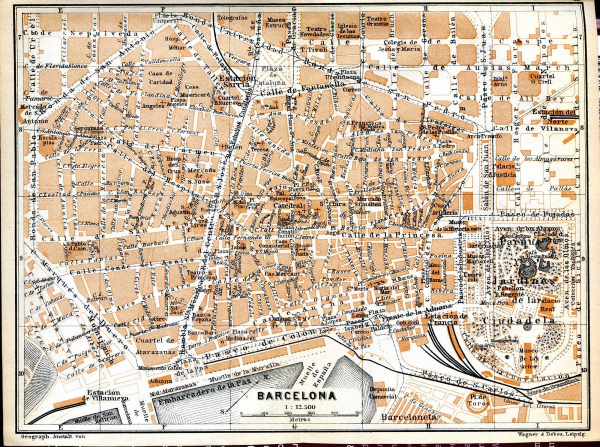 old map barcelona
