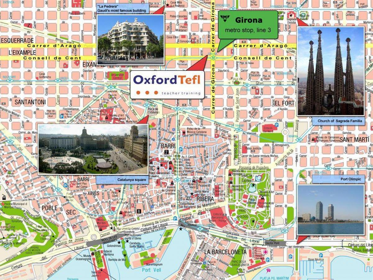 places to see in barcelona map