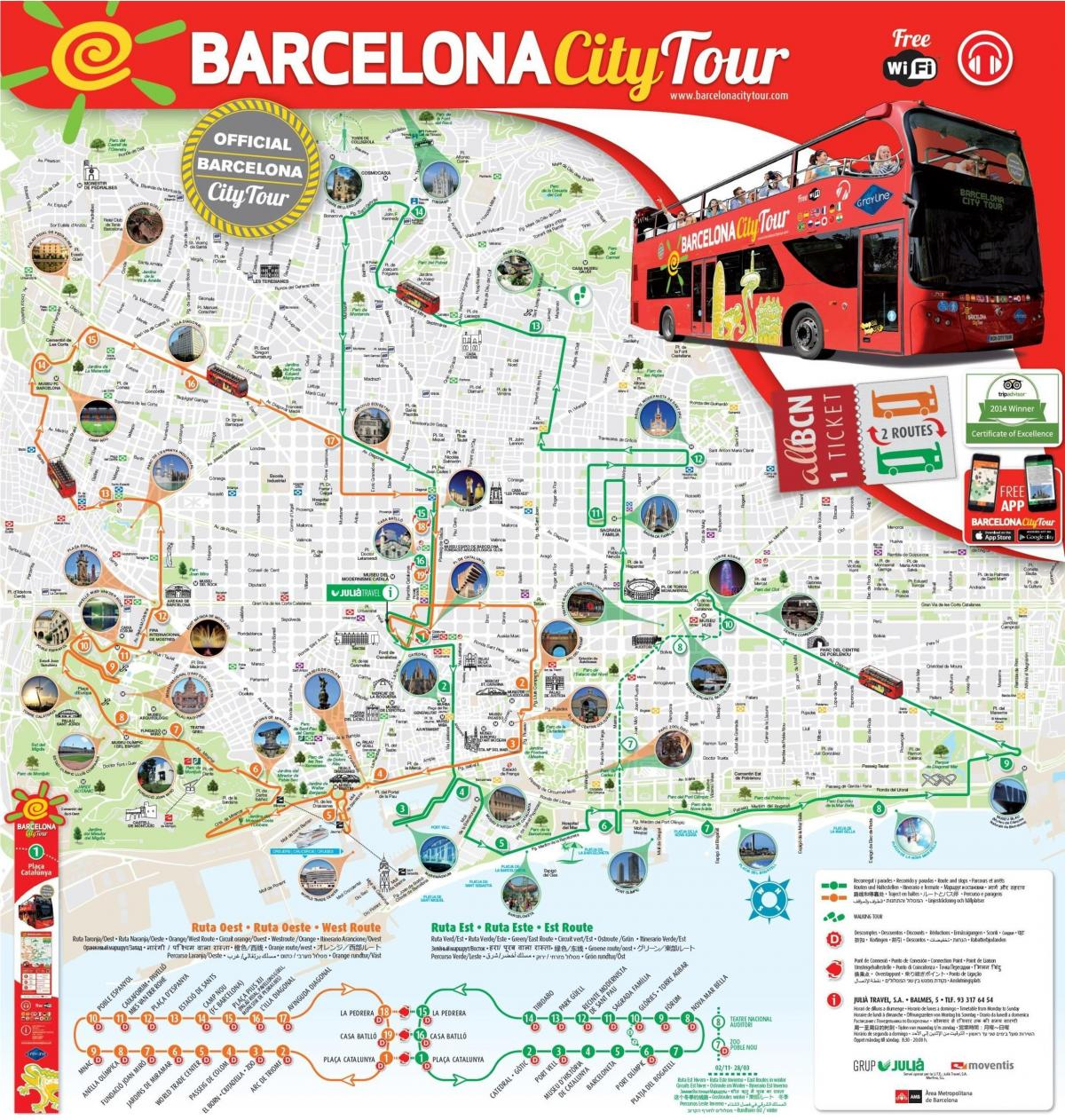 red bus tour barcelona map