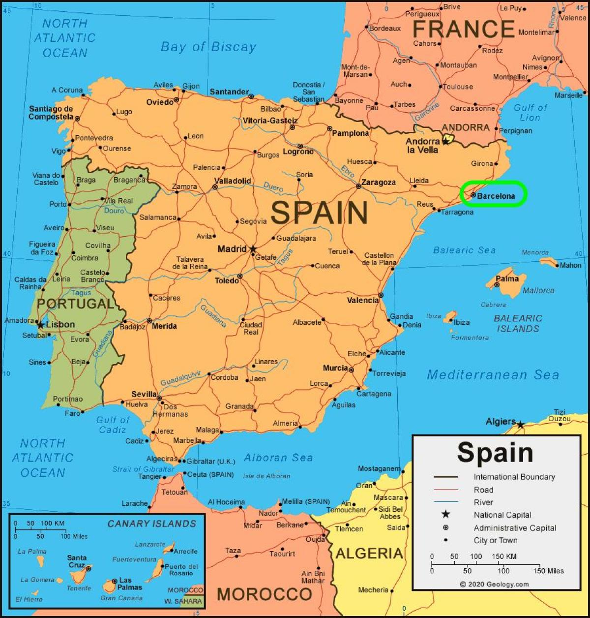 map of spain and barcelona