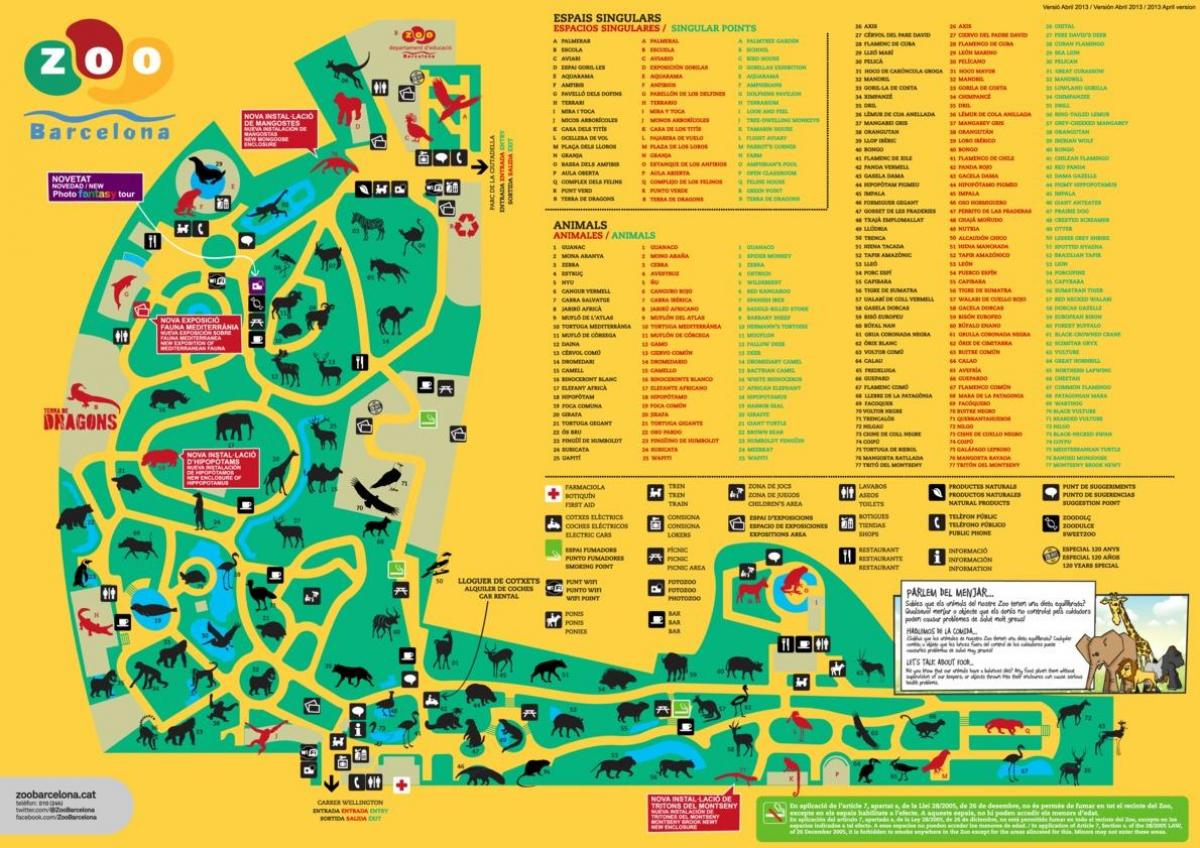 Barcelona Zoo Map Map Of Barcelona Zoo Catalonia Spain