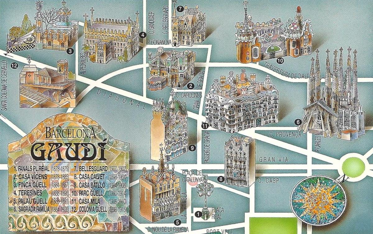gaudi map of barcelona