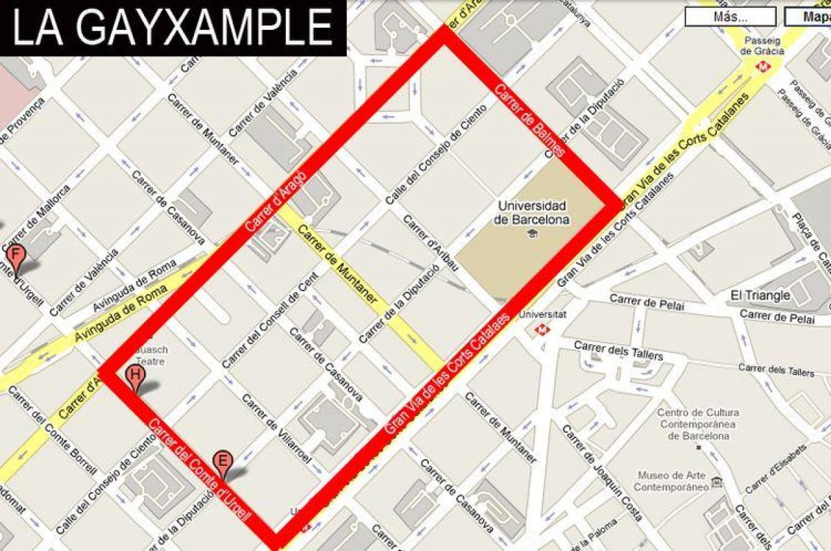 map of gayxample barcelona