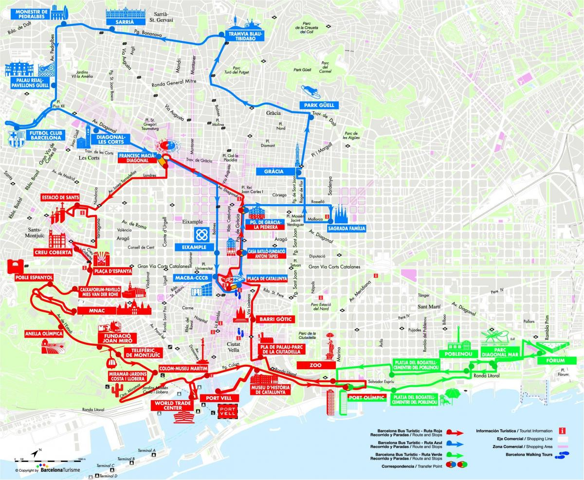 barcelona open top bus route map