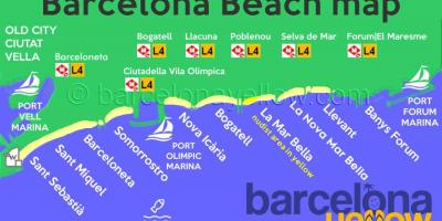 Map of barcelona beach resorts
