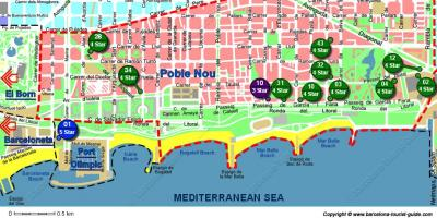 Map of barcelona hostels