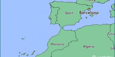 Map of barcelona location on world map