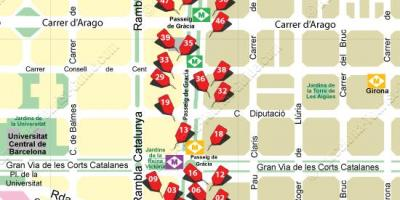 Map of barcelona shopping street
