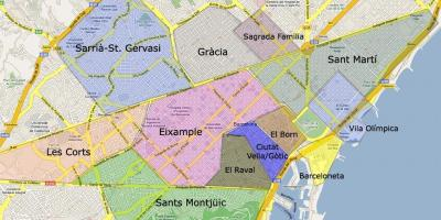Map of barcelona suburbs