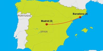 Barcelona to madrid map
