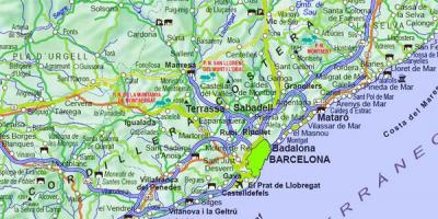 Map of map of area around barcelona