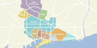 Map of barcelona spain neighborhoods