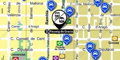 Map of passeig de gracia train station